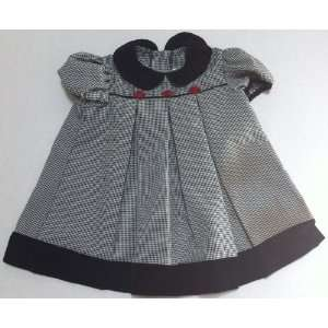 Baby Girl 24 Months, Black and White Plaid Frock Dress