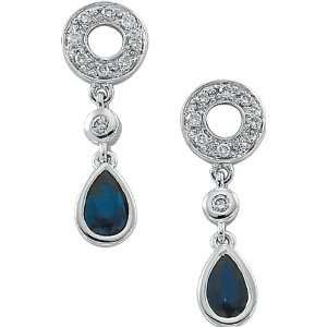 White Gold Genuine Blue Sapphire and Diamond Earrings Jewelry