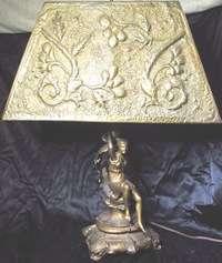 OUTSTANDING c1920 1930 ART NOUVEAU DECO WOMAN FIGURAL LAMP W/PIERCED