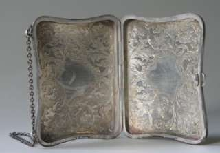 Co Sterling Silver Clamshell Cigarette Case Bag w Handle 100g
