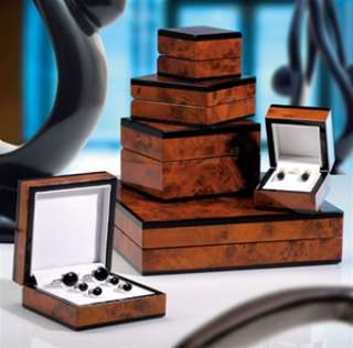 Mens Burled Wood Cuff Link Gift Box Storage Presentation Case Holds