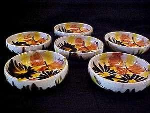 SET of 6 Antique MEXICAN Art POTTERY / MAJOLICA Drip Glaze BOWLS
