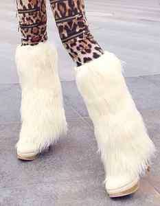 Fur Furry Eskimo Winter Knee High PU Leather Boots Heels