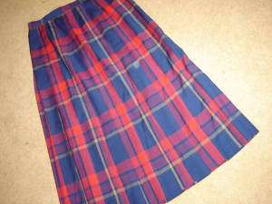 Pendleton tartan navy red plaid pleated skirt wool 14