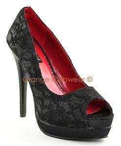 PINUP Elegant Black Lace Evening Peep Toe Heels Pumps