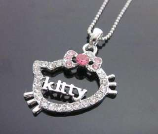 CUTE hello kitty pink KITTY crystal necklace GIFT L20