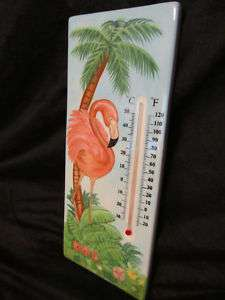Palm PINK Flamingo FLAMINGOS WALL THERMOMETER IN/OUT