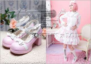 Lolita Baby Doll Bow High Heel 8/8.5 Mary Jane 39 PINK
