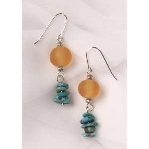 Turquoise and Gold Color Resin Bead Earrings Jewelry
