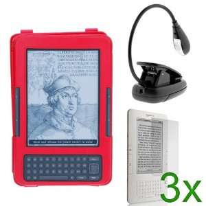 GTMax Red Leather Case with Stand + Black LED Clip On Reading Book
