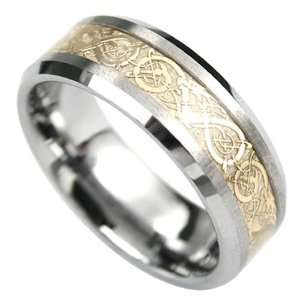 Celtic Design Two tone Tungsten Carbide Comfort fit Wedding Band Ring