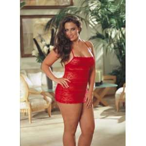 Lace Halter Babydoll & Thong Red Os Queen Health