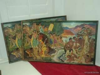 VINTAGE Pr. HAWAIIAN Prints WPA Artist E. SAVAGE Tropical Island