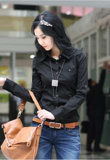 Womens Girls Fashion OL lady Career button Cotton Black shirt Top