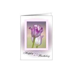 21st Birthday ~ Pink Ribbon Tulips Card: Toys & Games