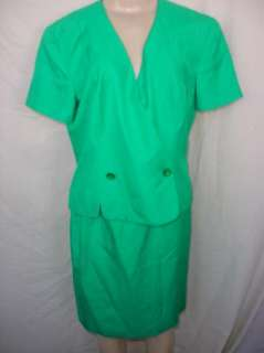 Adrianna Papell Womens Green Skirt Suit  Size 12  Career/Holidays