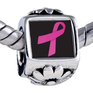 Pandora Style Bead Hot Pink Ribbon Awareness Beads Fits