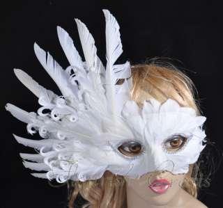 Elegant Mardi Gras masquerade white feather eye mask