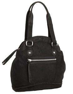 LUCKY BRAND JEANS BLACK PEBBLE LEATHER DOME TOTE BAG