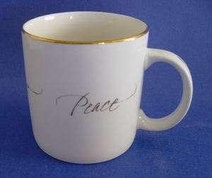 Hallmark Peace Love Joy Hope gold trim Ceramic 14oz cup Mug