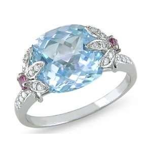 10k White Gold BlueTopaz, Pink Tourmaline and Diamond Ring