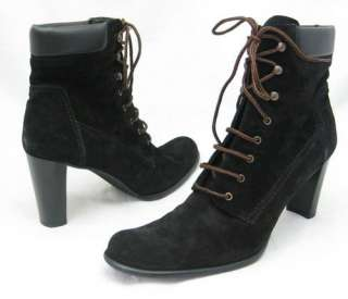 COLLECTION Fifty Nine AMY Black Suede Lace Up Womens Shoes Ankle Boots