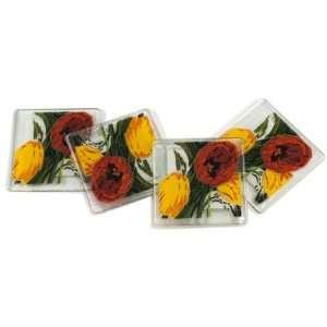Peggy Karr Tulip Canvas Handmade Art Glass Coasters, Set
