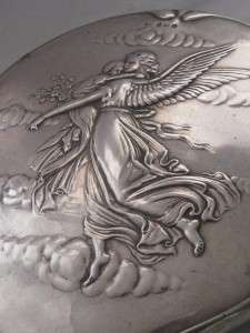 angel and child cherub silver hand mirror dressing table mirro