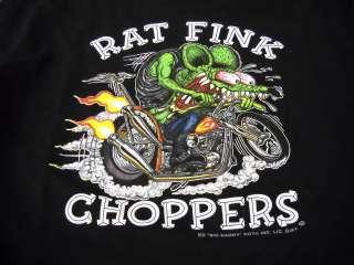 Rat Fink Choppers Biker Bike Ed Roth t shirt S XX black tee