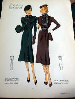 RARE 1930s PARIS SEWING PATTERN FASHION PLATE