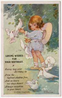 Art Postcard a Cute Girl with White Birds/Doves with Birthday Wishes