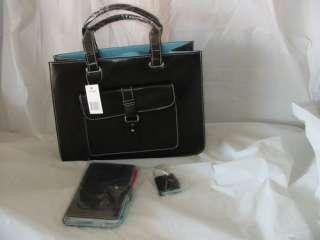 New BROWN w/ blue lining laptop breifcase bag large purse w/ wallet