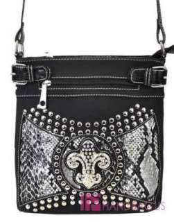 NWT Rhinestone FLEUR DE LIS Studded Applique SNAKESKIN Messenger Bag