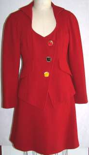 CHRISTIAN LACROIX SUIT RED WOOL JACKET SKIRT