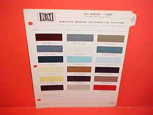 1965 MERCURY COMET CYCLONE PAINT CHIPS COLOR CHART 65