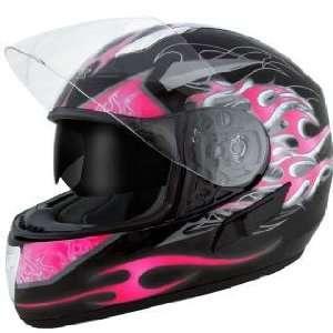 Advanced Dual Visor Flamma Pink Motorcycle Helmet Sz L