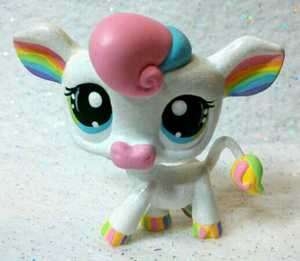 Pastel Rainbow Cow * OOAK Custom Littlest Pet Shop