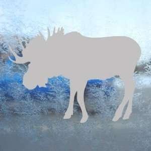 Bull Moose Hunting Gray Decal Car Truck Window Gray