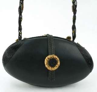 MARY FRANCES GOLD BLACK LEOPARD HANDBAG W DUST BAG NR