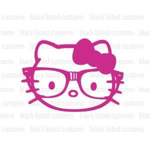 Hello Kitty Nerd Glasses Face Pink Vinyl Decal Sticker