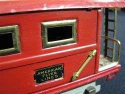 1930s American Flyer 4 Piece Train Set w/ Orange Log Car, Caboose