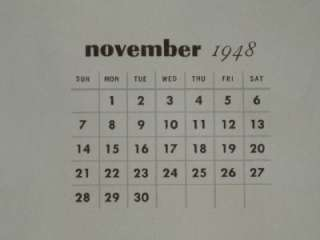 GIRL CALENDAR ART NOVEMBER 1948 LONG LEGGED BRUNETTE OLDIE