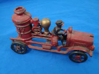 Vintage Original Cast Iron Fire Truck Pumper Engine Collectible Toy