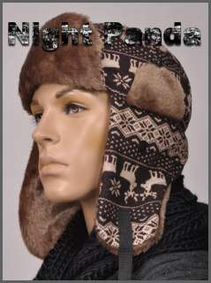 Brown Deer Hunting Men Snowflake Trapper Hat Cap Earflaps Aviator Glam