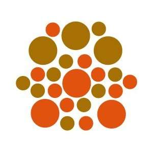 Set of 30   Orange / Metallic Copper Circles Polka Dots