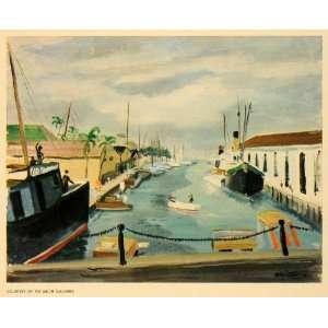 1942 Print Waterfront Nassau Bahamas Port Ship Boat Sea