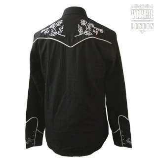 New Black Cowboy Rockabilly Western Flower Shirt S XXL