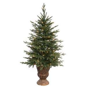 4 Pre Lit Potted Norwood Fir Artificial Christmas Tree