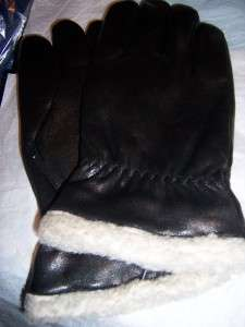 Mens Shearling Cuff, Black Leather Gloves,XL,Style112