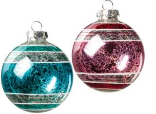 Set 12 Antique Pink Blue Stripe Glass Ball Christmas Ornament